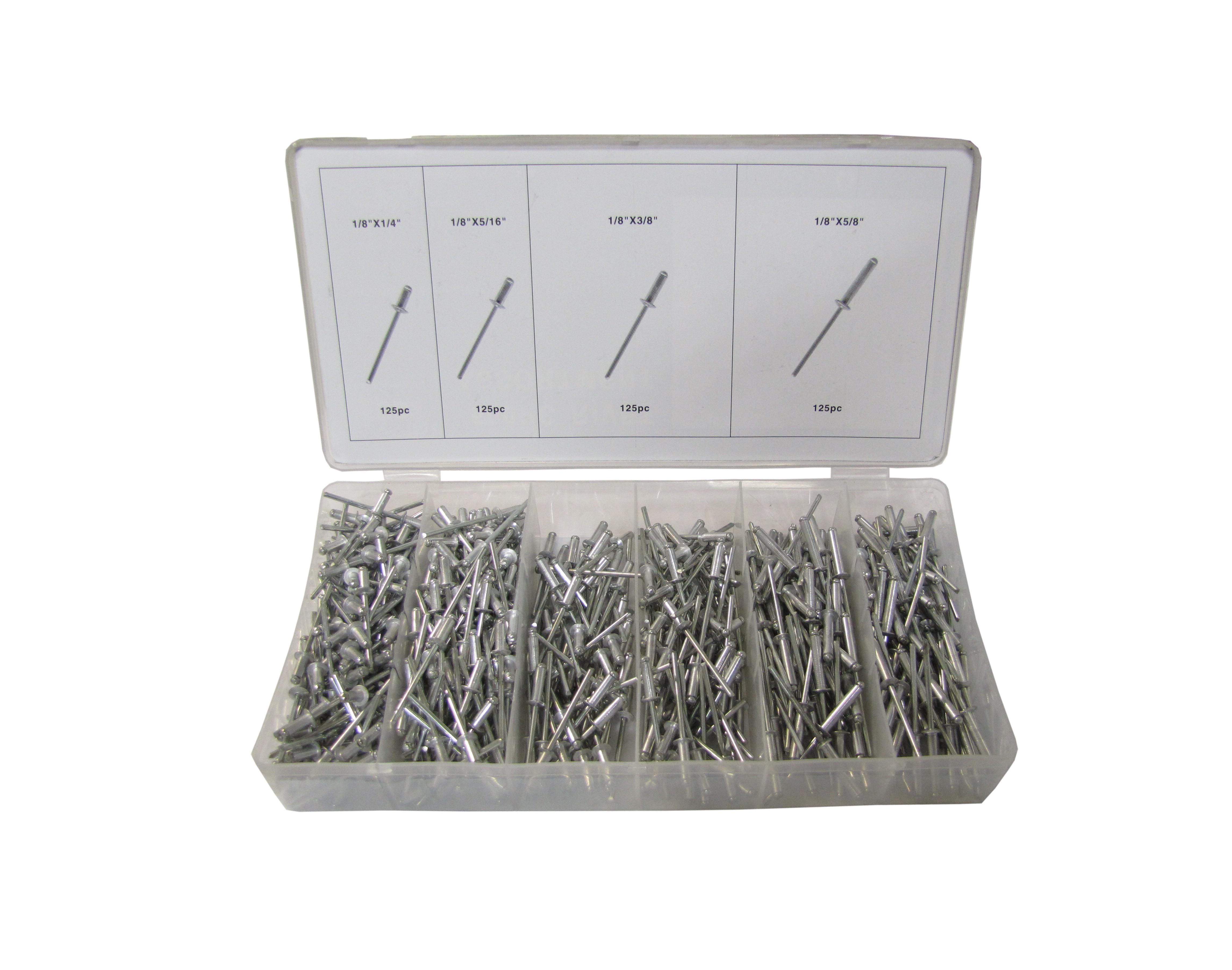 Rivets Pop Kit 500pc Assortment (Kit)